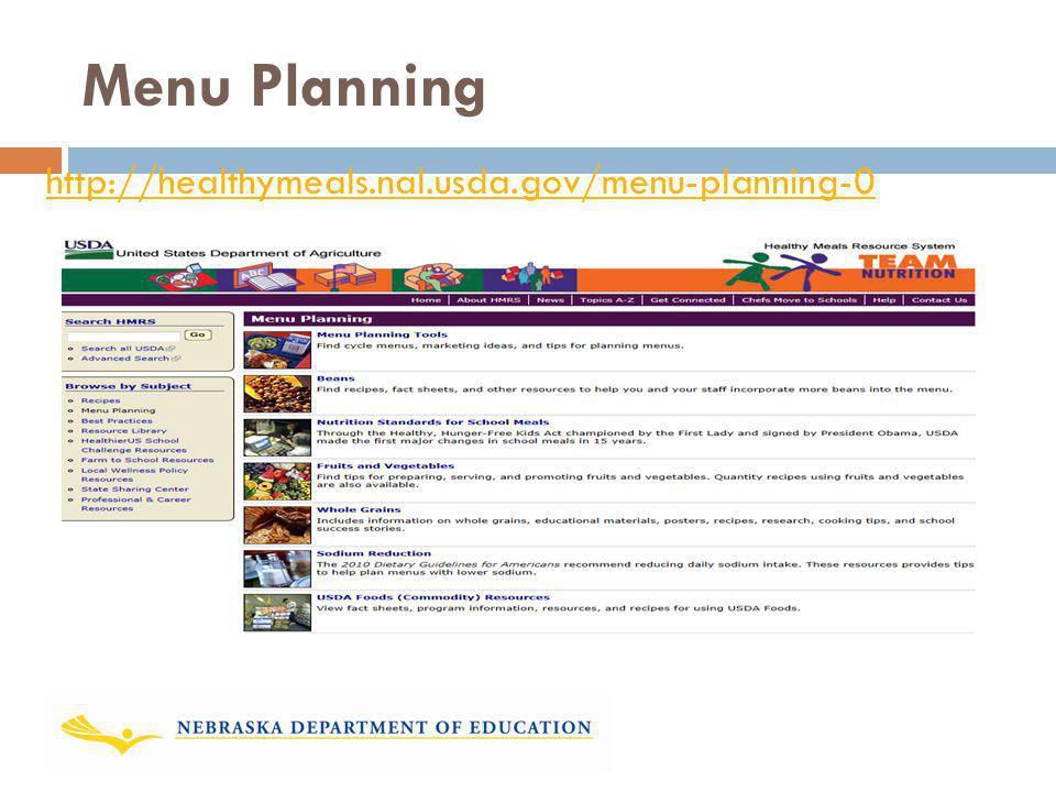 Menu Planning http://healthymeals.nal.usda.gov/menu-planning-0