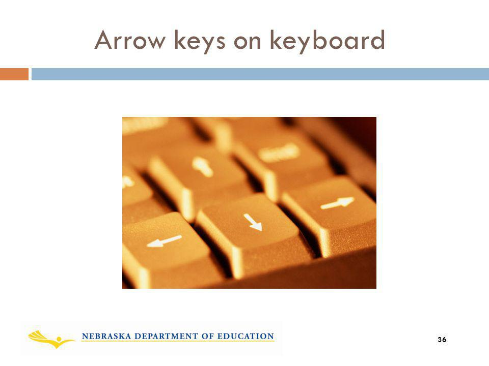 Arrow keys on keyboard Add graphic showing the move? 36