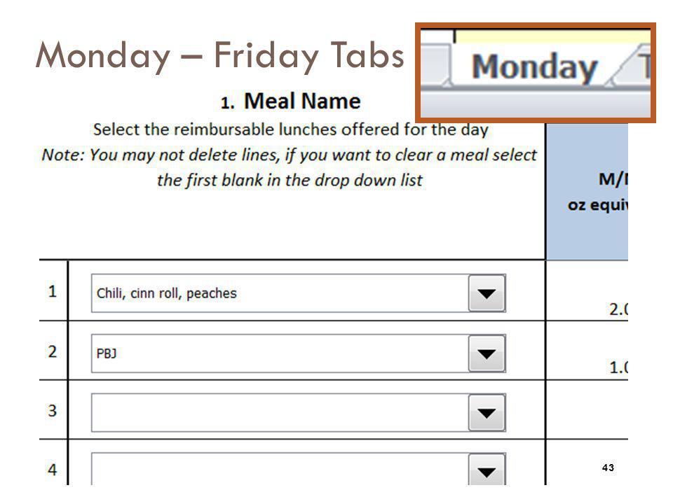 Monday – Friday Tabs 43