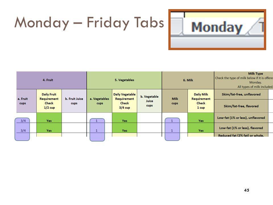 Monday – Friday Tabs 45