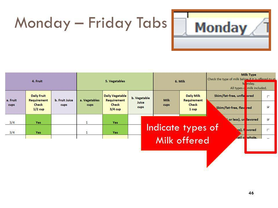 Monday – Friday Tabs Indicate types of Milk offered 46