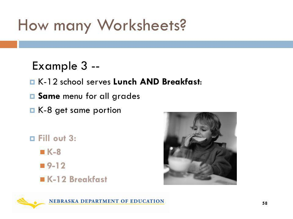 Example 3 -- K-12 school serves Lunch AND Breakfast: Same menu for all grades K-8 get same portion Fill out 3: K-8 9-12 K-12 Breakfast How many Worksh