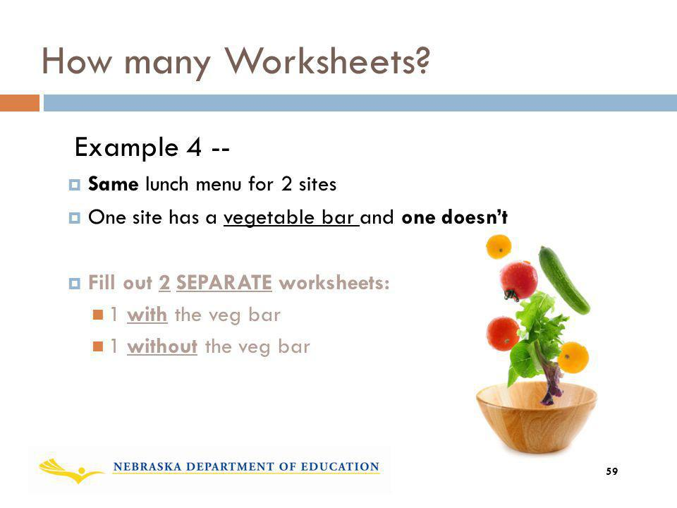 How many Worksheets? Example 4 -- Same lunch menu for 2 sites One site has a vegetable bar and one doesnt Fill out 2 SEPARATE worksheets: 1 with the v