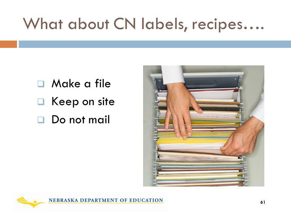What about CN labels, recipes…. Make a file Keep on site Do not mail 61