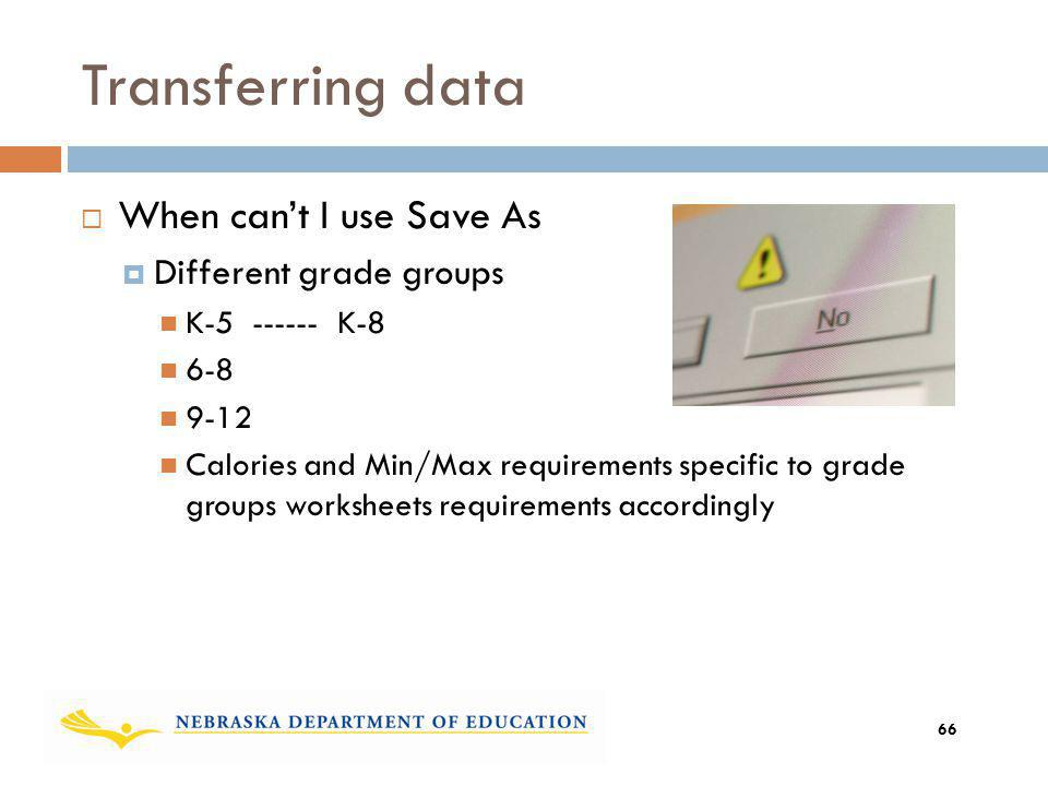 Transferring data When cant I use Save As Different grade groups K-5 ------ K-8 6-8 9-12 Calories and Min/Max requirements specific to grade groups wo
