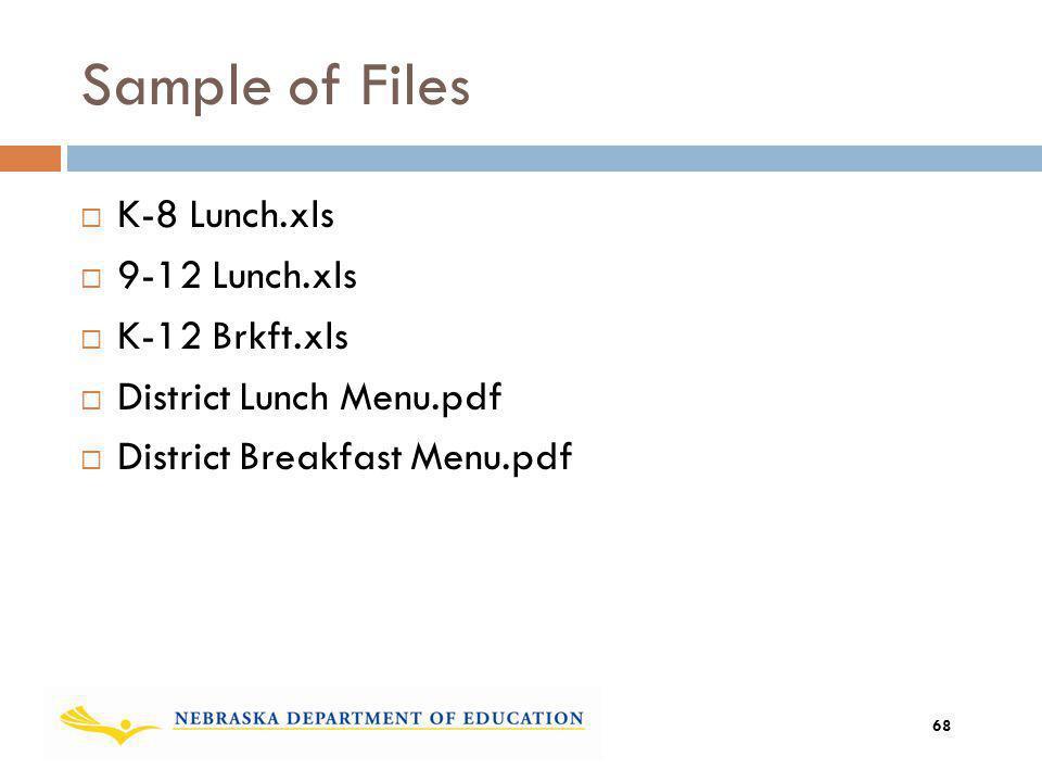 Sample of Files K-8 Lunch.xls 9-12 Lunch.xls K-12 Brkft.xls District Lunch Menu.pdf District Breakfast Menu.pdf 68