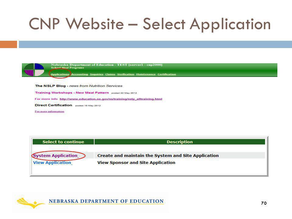 CNP Website – Select Application 70