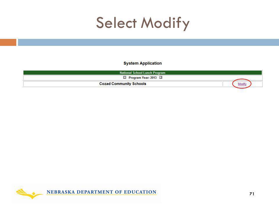 Select Modify 71