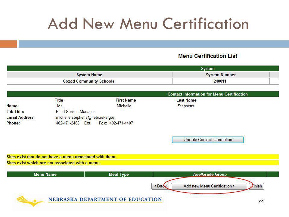 Add New Menu Certification 74