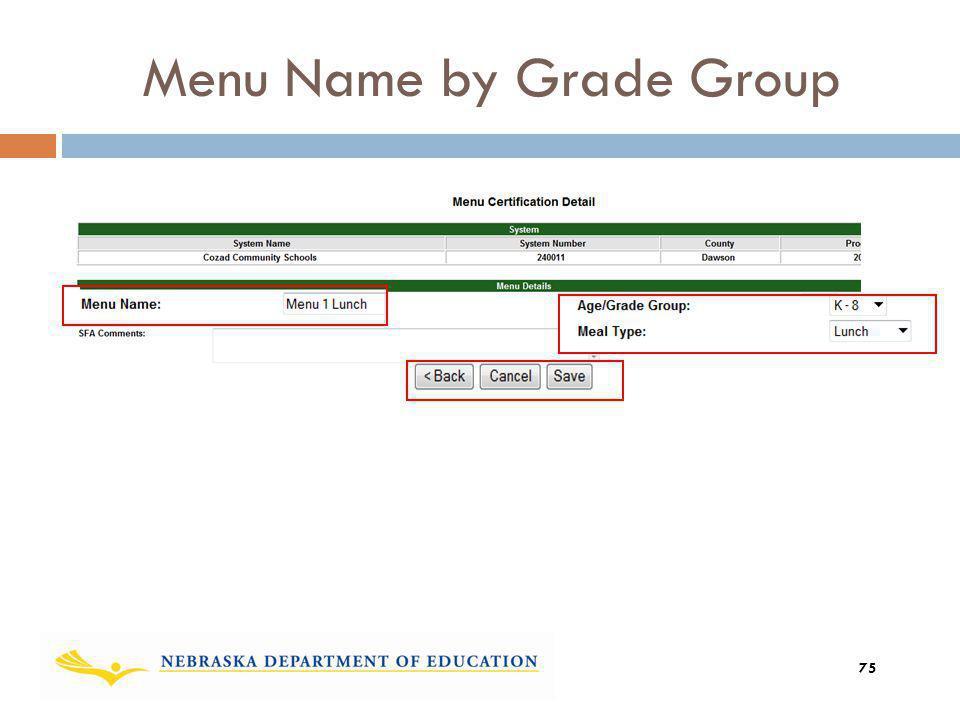 Menu Name by Grade Group 75
