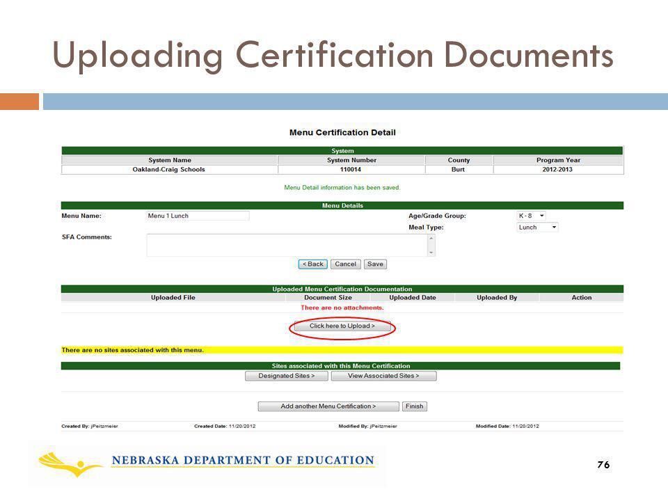 Uploading Certification Documents 76