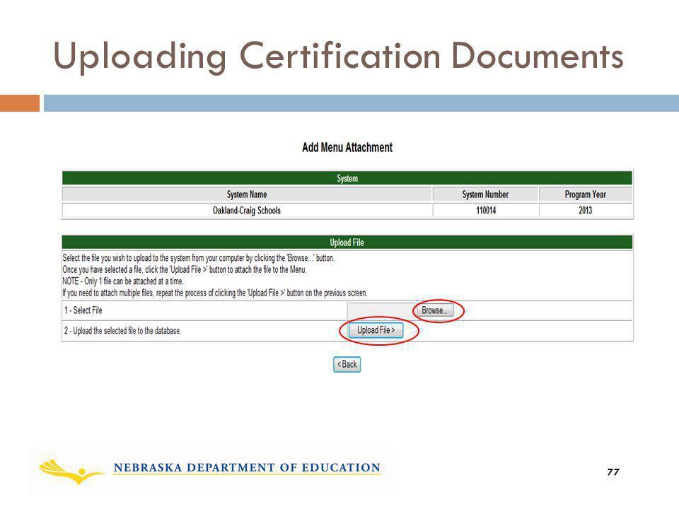Uploading Certification Documents 77