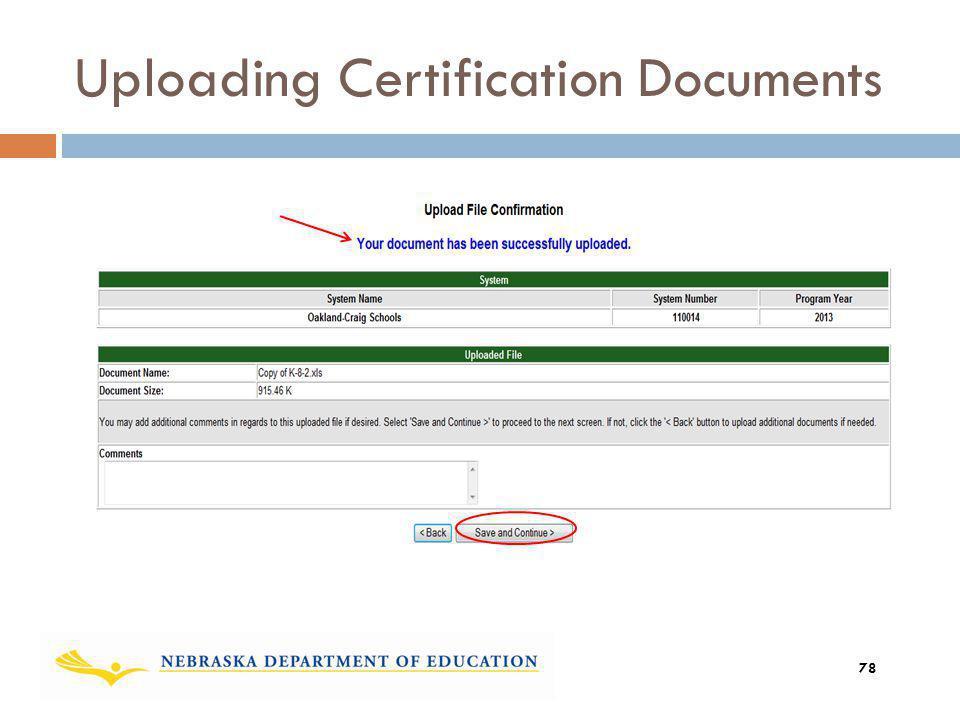 Uploading Certification Documents 78