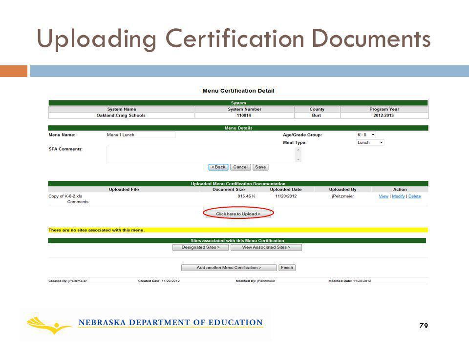Uploading Certification Documents 79