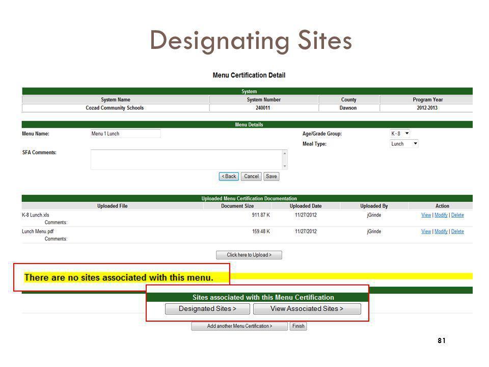 Designating Sites 81