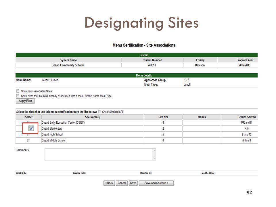 Designating Sites 82