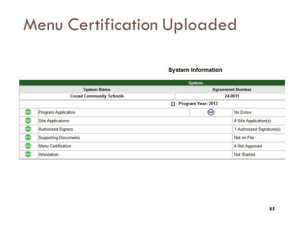 Menu Certification Uploaded 85