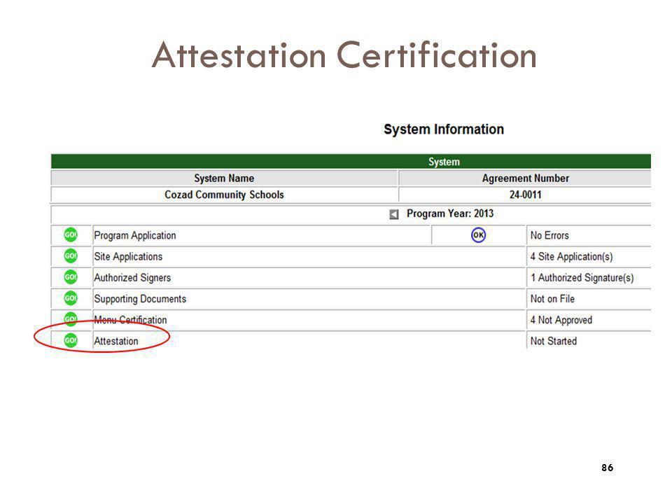 Attestation Certification 86