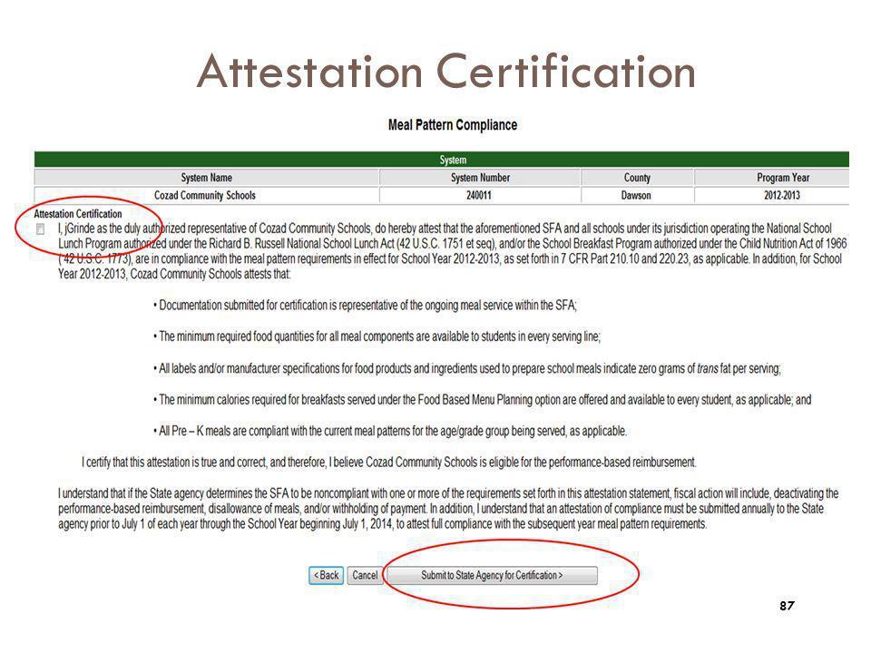Attestation Certification 87