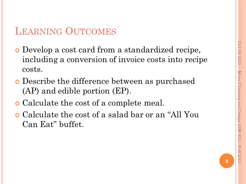 A SSIGNMENT Using the following data and recipe, complete the blank cost card provided, including the cost per portion.