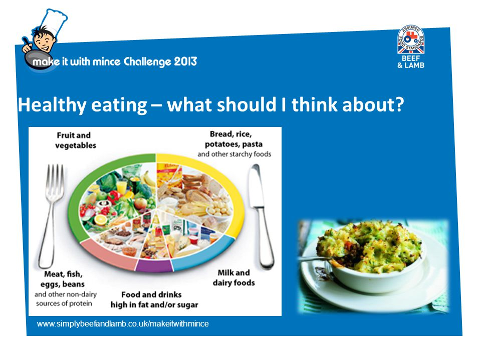 www.simplybeefandlamb.co.uk/makeitwithmince Healthy eating – what should I think about