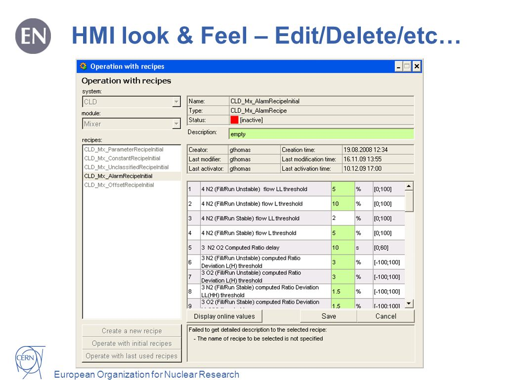 European Organization for Nuclear Research HMI look & Feel - Activation status