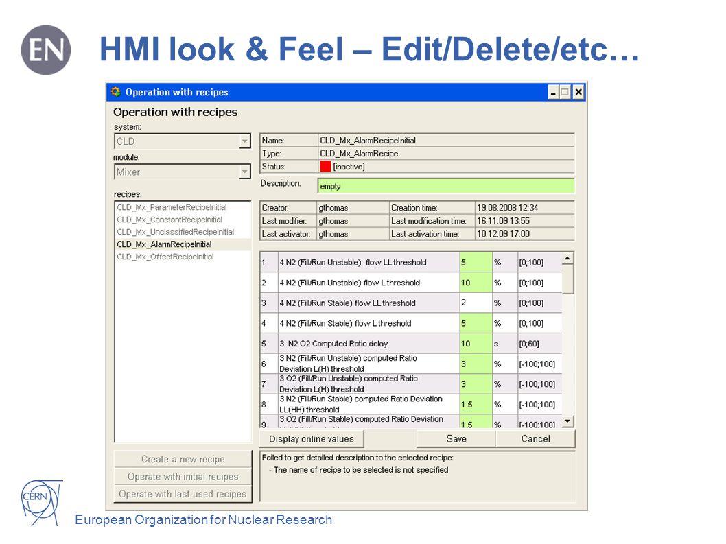 European Organization for Nuclear Research HMI look & Feel – Edit/Delete/etc…