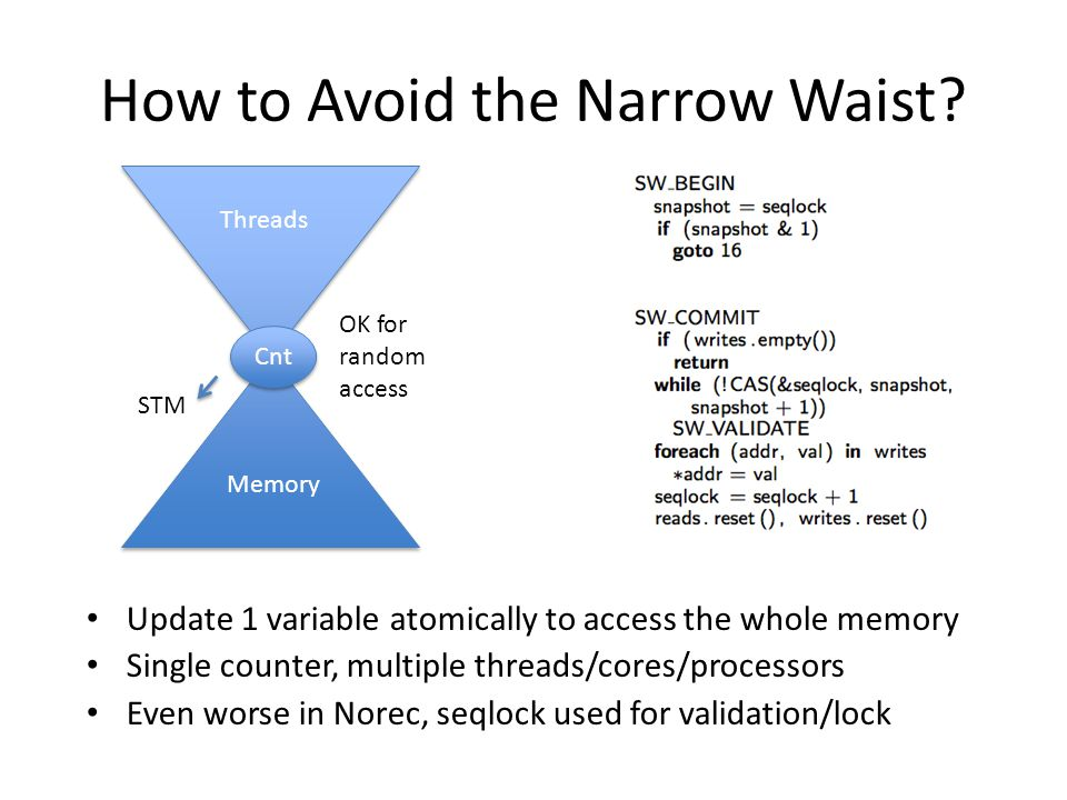 How to Avoid the Narrow Waist? Update 1 variable atomically to access the whole memory Single counter, multiple threads/cores/processors Even worse in