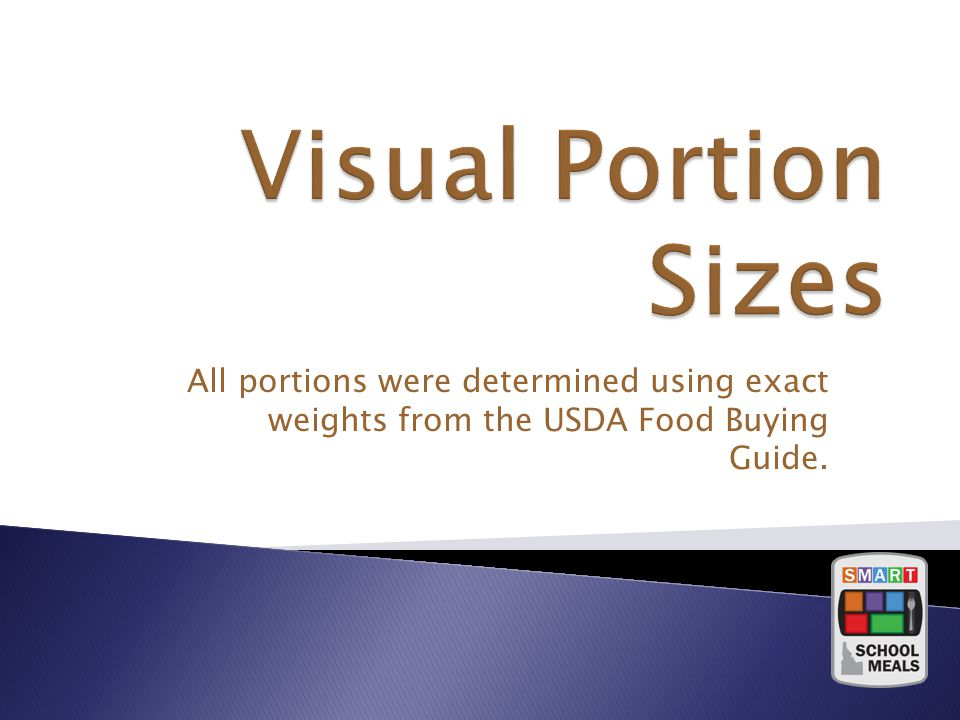 All portions were determined using exact weights from the USDA Food Buying Guide.