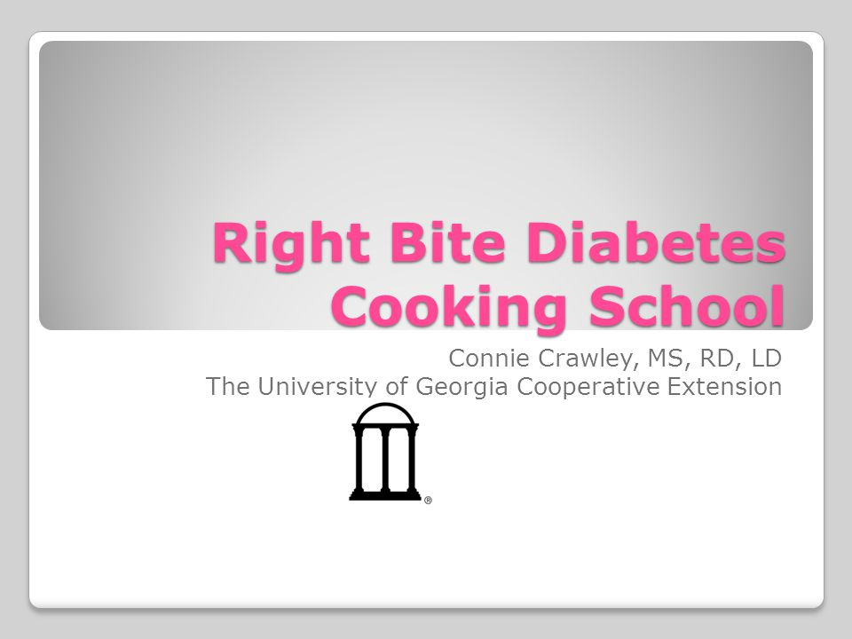 Right Bite Diabetes Cooking School Connie Crawley, MS, RD, LD The University of Georgia Cooperative Extension
