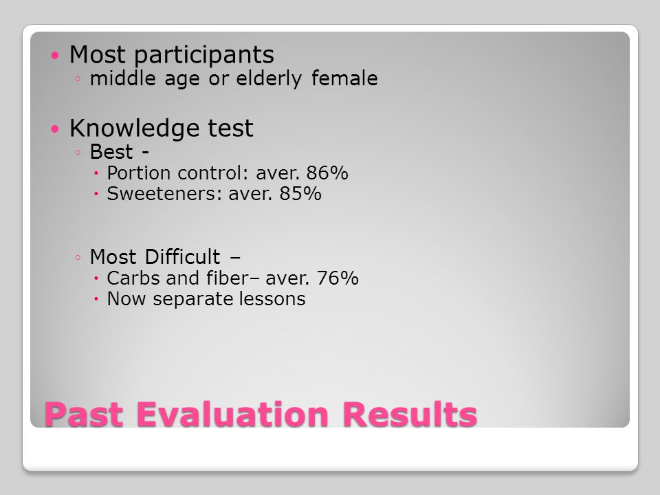 Past Evaluation Results Most participants middle age or elderly female Knowledge test Best - Portion control: aver.