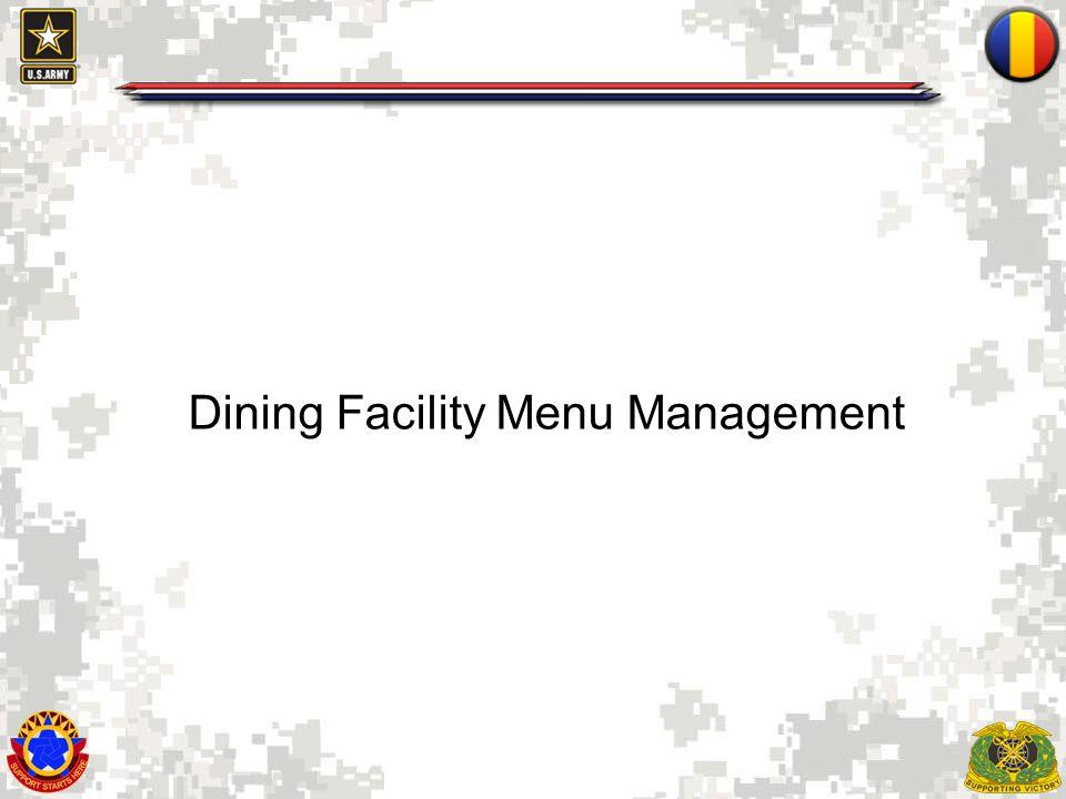 1 Dining Facility Menu Management