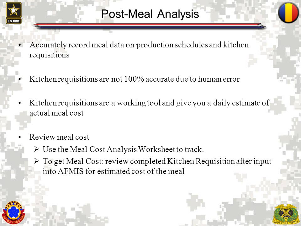 15 Post-Meal Analysis Accurately record meal data on production schedules and kitchen requisitions Kitchen requisitions are not 100% accurate due to h