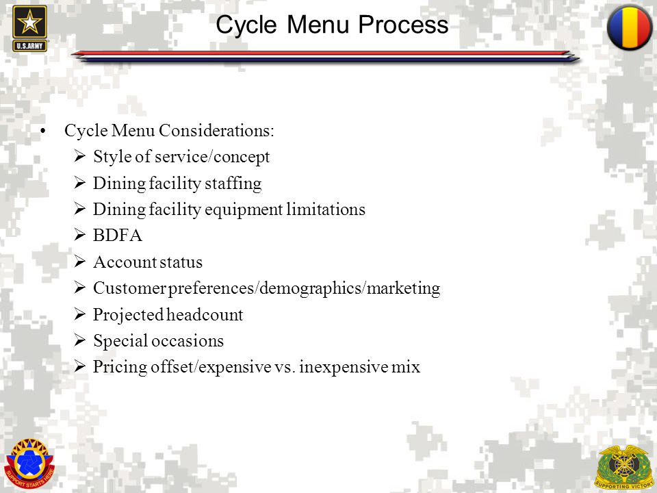 6 Cycle Menu Process Cycle Menu Considerations: Style of service/concept Dining facility staffing Dining facility equipment limitations BDFA Account s