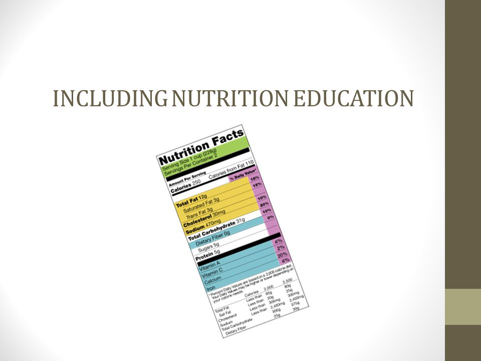 INCLUDING NUTRITION EDUCATION