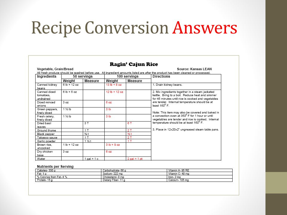 Recipe Conversion Answers
