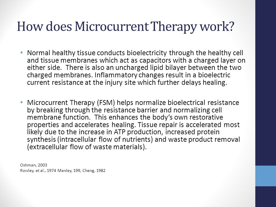 How does Microcurrent Therapy work? Normal healthy tissue conducts bioelectricity through the healthy cell and tissue membranes which act as capacitor