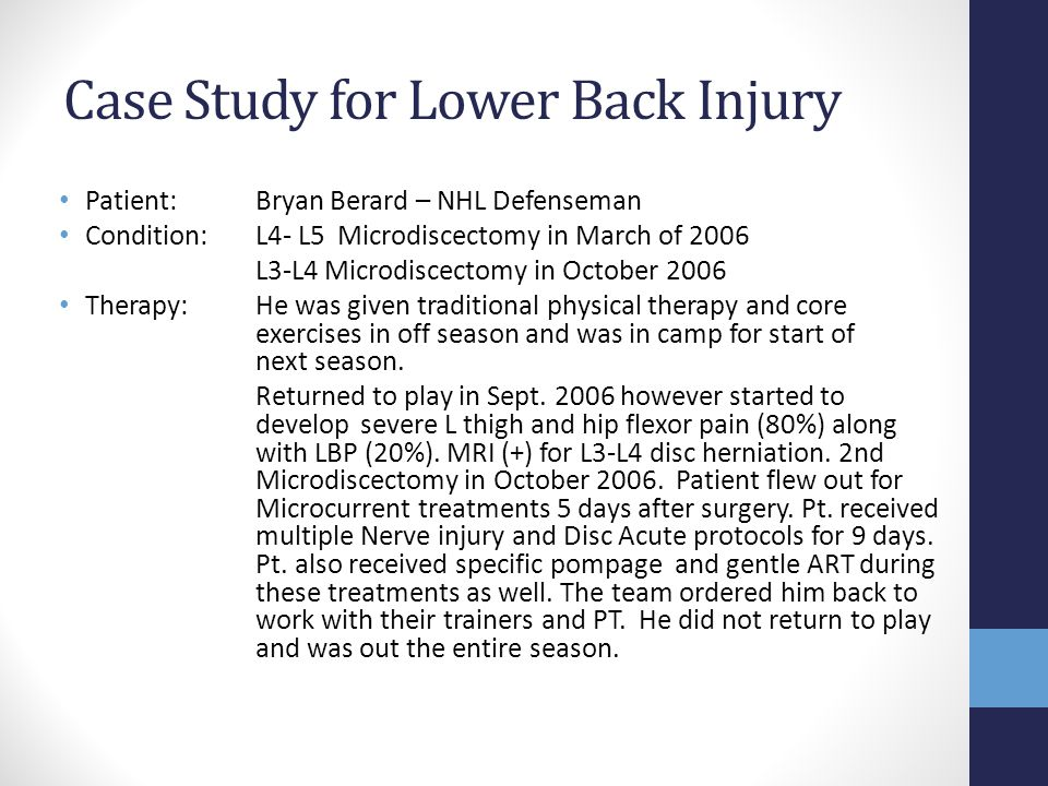 Case Study for Lower Back Injury Patient: Bryan Berard – NHL Defenseman Condition: L4- L5 Microdiscectomy in March of 2006 L3-L4 Microdiscectomy in Oc