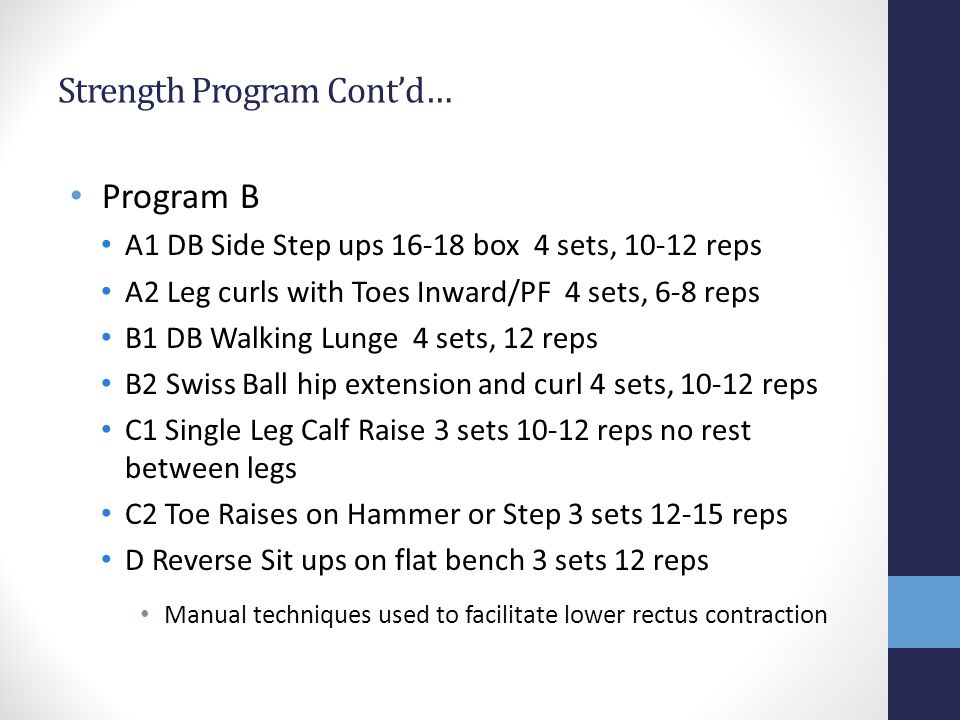 Strength Program Contd… Program B A1 DB Side Step ups 16-18 box 4 sets, 10-12 reps A2 Leg curls with Toes Inward/PF 4 sets, 6-8 reps B1 DB Walking Lunge 4 sets, 12 reps B2 Swiss Ball hip extension and curl 4 sets, 10-12 reps C1 Single Leg Calf Raise 3 sets 10-12 reps no rest between legs C2 Toe Raises on Hammer or Step 3 sets 12-15 reps D Reverse Sit ups on flat bench 3 sets 12 reps Manual techniques used to facilitate lower rectus contraction