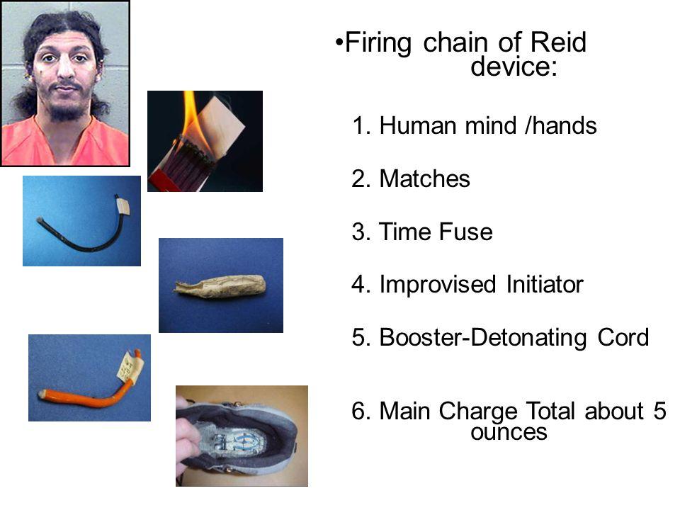Firing chain of Reid device: 1.Human mind /hands 2.