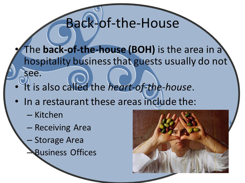Back-of-the-House The back-of-the-house (BOH) is the area in a hospitality business that guests usually do not see. It is also called the heart-of-the