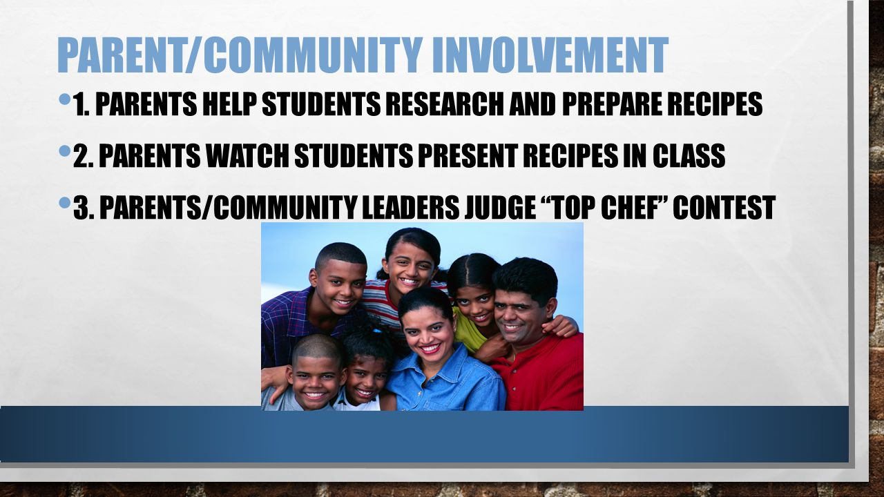PARENT/COMMUNITY INVOLVEMENT 1. PARENTS HELP STUDENTS RESEARCH AND PREPARE RECIPES 2.