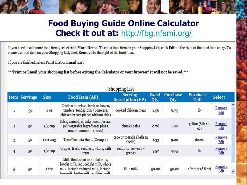 Food Buying Guide Online Calculator Check it out at: http://fbg.nfsmi.org/ http://fbg.nfsmi.org/