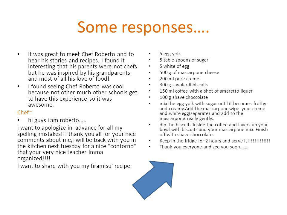 Some responses…. It was great to meet Chef Roberto and to hear his stories and recipes.