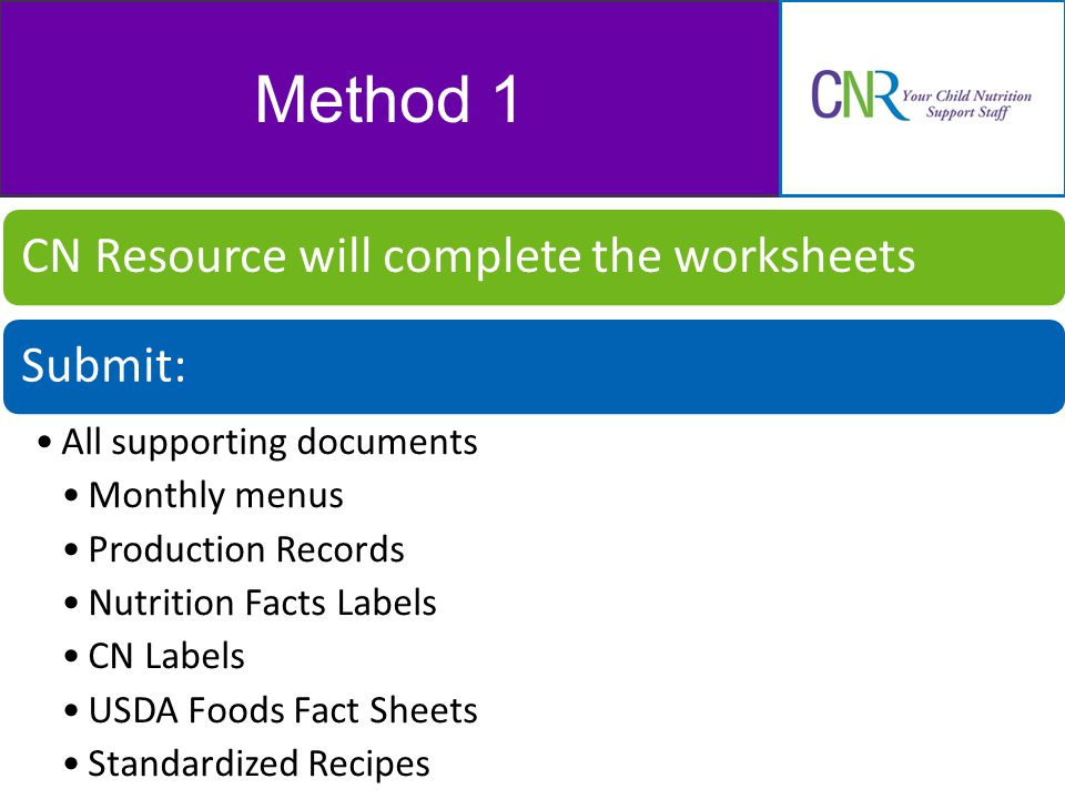 Method 1 CN Resource will complete the worksheetsSubmit: All supporting documents Monthly menus Production Records Nutrition Facts Labels CN Labels USDA Foods Fact Sheets Standardized Recipes