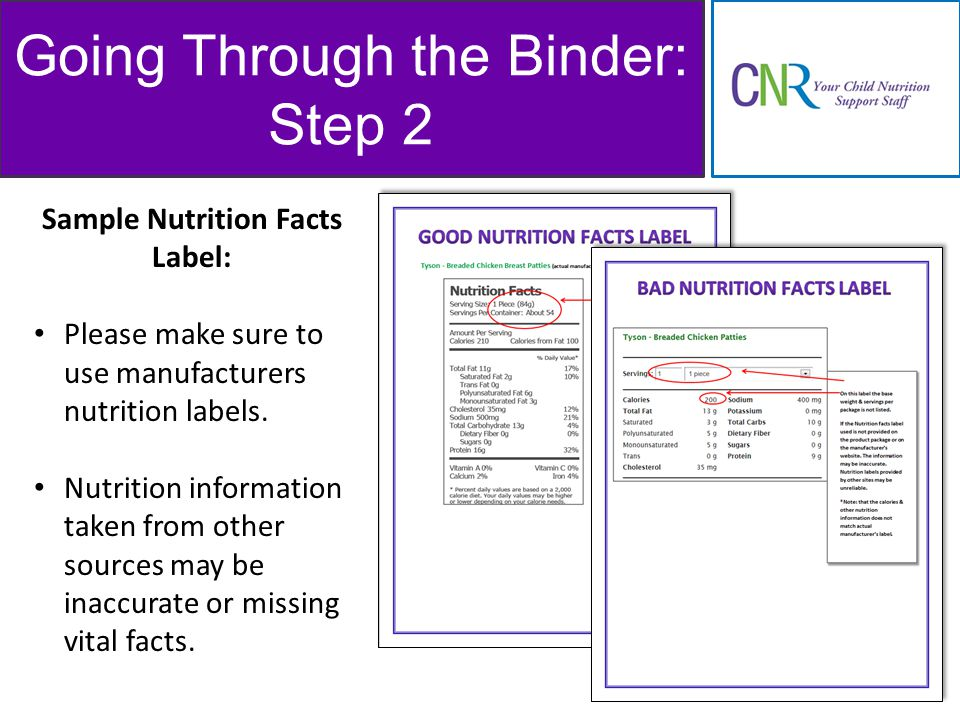 Going Through the Binder: Step 2 Sample Nutrition Facts Label: Please make sure to use manufacturers nutrition labels.