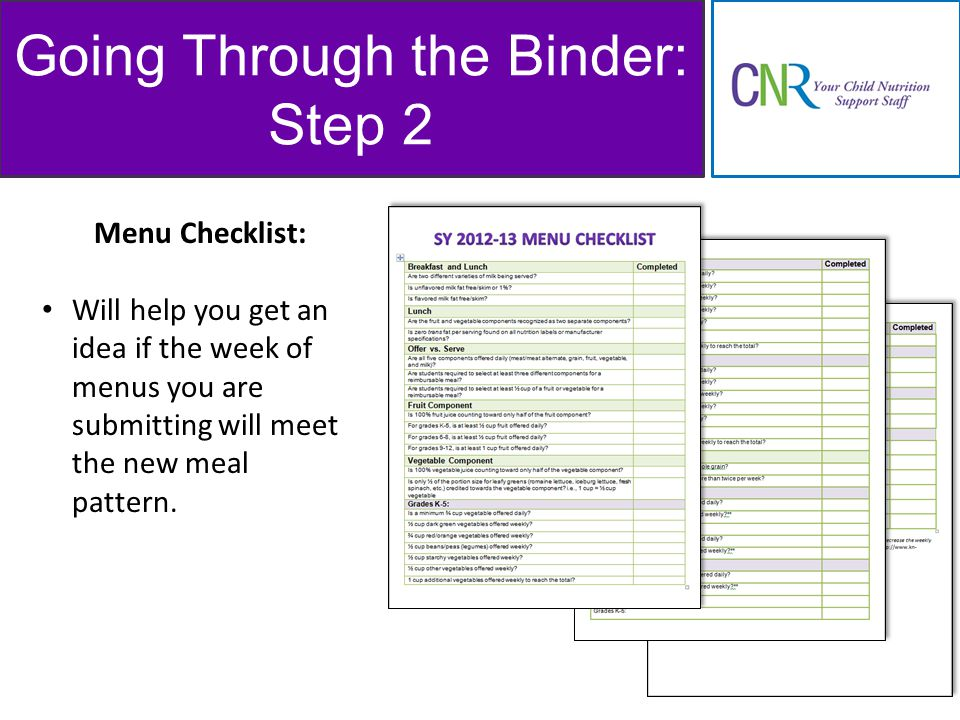 Going Through the Binder: Step 2 Menu Checklist: Will help you get an idea if the week of menus you are submitting will meet the new meal pattern.