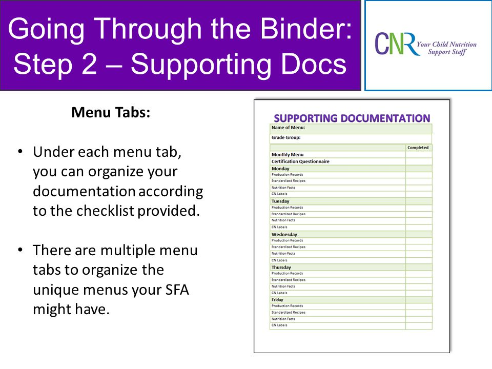 Going Through the Binder: Step 2 – Supporting Docs Menu Tabs: Under each menu tab, you can organize your documentation according to the checklist provided.