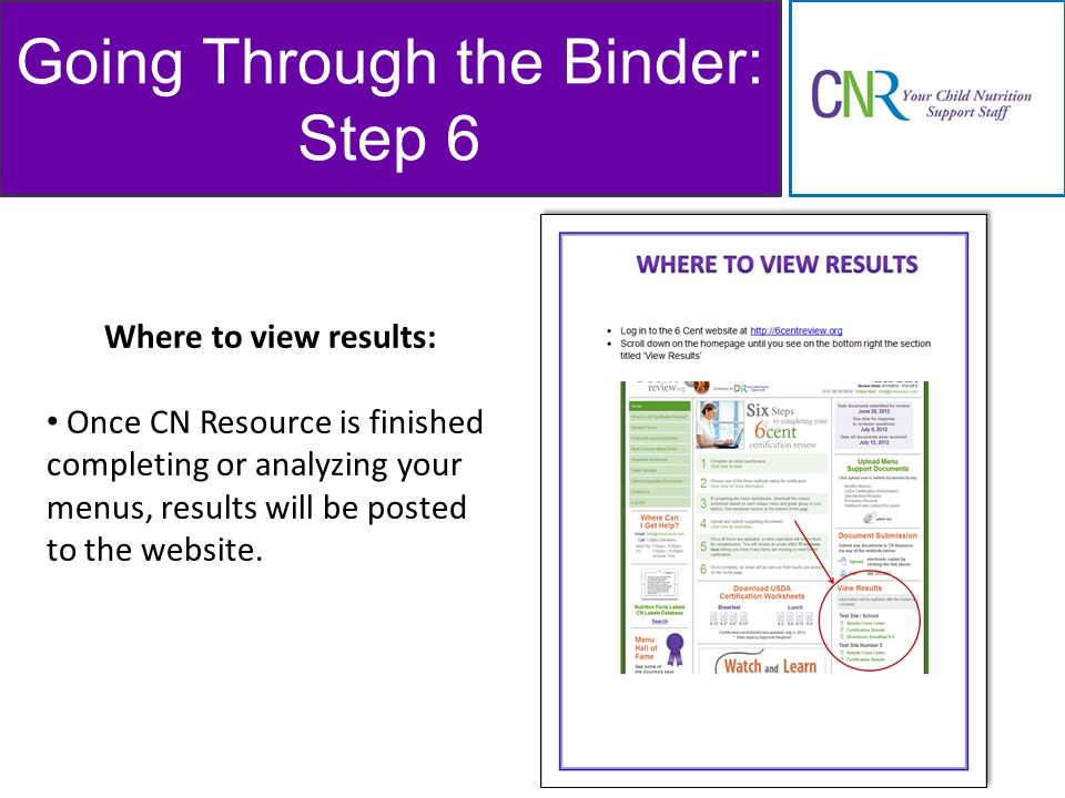 Going Through the Binder: Step 6 Where to view results: Once CN Resource is finished completing or analyzing your menus, results will be posted to the website.
