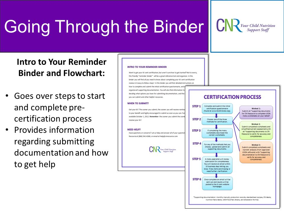 Going Through the Binder Intro to Your Reminder Binder and Flowchart: Goes over steps to start and complete pre- certification process Provides information regarding submitting documentation and how to get help